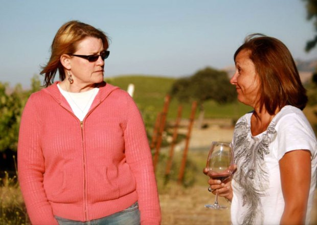 Caliza Winery is one of many wineries on Anderson Road making Rhône-style varietals. Co-owner Pam Bowker, left, can often be found in the tasting room and will also become the president of the local Rhône Rangers chapter in 2013