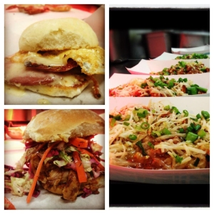 Dusty Bun creations are all made from scratch, including the original Eggman w Niman Ranch Ham (top left), -Linguica Chili Fries w/ Rumiano PepperJack and (right) and the original Original Dusty Bun-Mary's Organic Chicken slow roasted in our Chipolte sauce with a California sesame cabbage slaw.