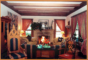 Guests at Fanny's first enter into a marvelous, comfortable front room complete with fireplace, overstuffed chairs and bookshelves.