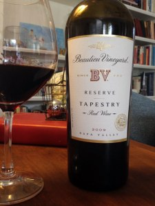 Beaulieu Vineyard Reserve Tapestry is a blend of Cabernet Sauvignon, Cabernet Franc, Merlot, Petit Verdot and Malbec. Its dark red fruit, flowers, licorice are some of the notes that emerge from this sleek, beautifully balanced red.