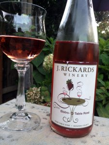 The J. Rickards 2012 Bistro Table Rosé is perfect for the European palate, with fragrant rose petal, strawberry, watermelon in a crisp, dry finish.