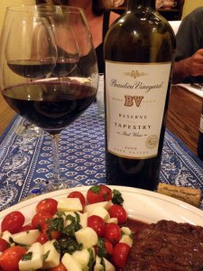 While not BV's top Cabernet or blend, the Beaulieu Vineyard Tapestry Reserve paired well with my ribeye steak. I recommend this 90-91 point wine and a value buy drinking well now.