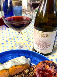 Salmon most often will call for a Pinot Noir. Tonight we choose a Cardwell Hill Cellars Pinot from the Willamette Valley in Oregon.